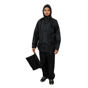 Zacharias Black Solid Hooded Polyester Rainsuit