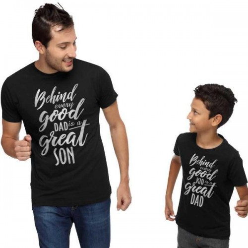 3f58c2de Buy Black Cotton Printed Father & Son Casual T-Shirts online ...