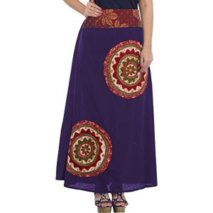 Exotic India Exotic India Long Skirt with Applique-Work and Mirrors