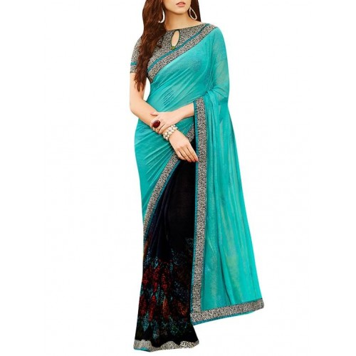 shaily Blue & black georgette embroidered half and half saree