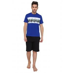 Valentine Men\'s Printed Blue Top & Shorts Set
