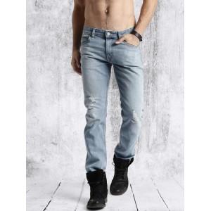 Roadster Blue Slim Fit Mid Rise Mildly Distressed Jeans