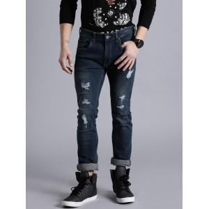 Kook N Keech Blue Mid-Rise Mildly Distressed Jeans