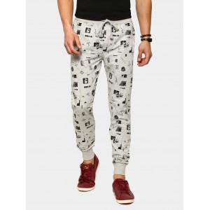 abof Men Grey Melange Printed Regular Fit Joggers