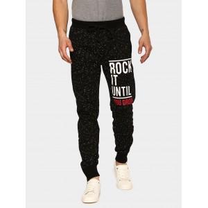 abof Men Black Printed Slim Fit Joggers