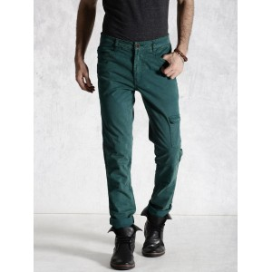 RDSTR Green Washed Slim Fit Trousers