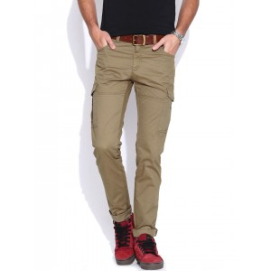 John Players Olive Brown Skinny Fit Cargo Trousers