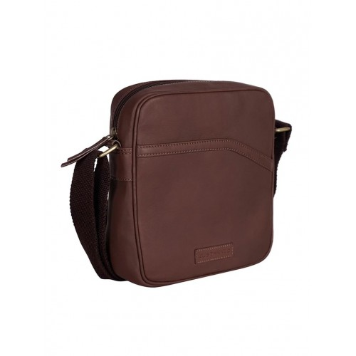 Justanned brown leather bag