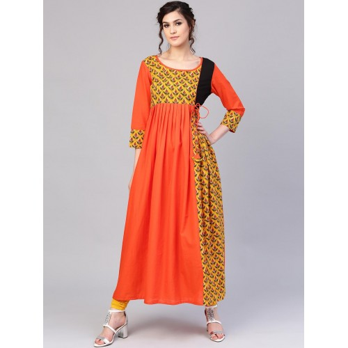 AKS Orange & Mustard Yellow Printed Anarkali Kurta