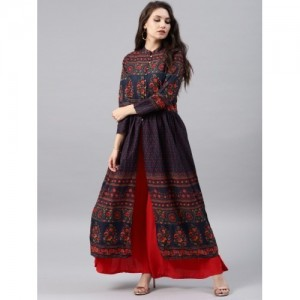 Vishudh Printed A-Line Kurta with Front Slit