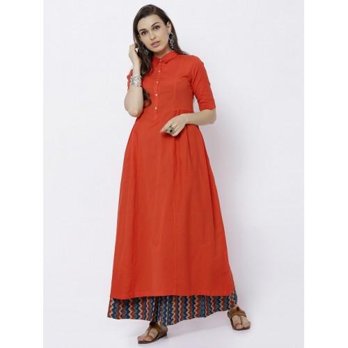 f79bb48a5bc Buy Vishudh Women Orange Solid A-Line Kurta online
