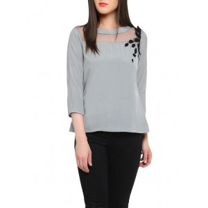 Red couture Grey embellished three-quarter sleeved top