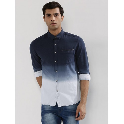 Flying Machine Navy Blue Ombre Dyed Shirt