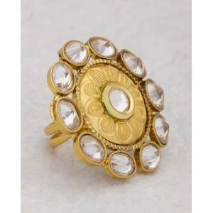 Voylla Shiny Stones Studded Floral Designer Ring For Women