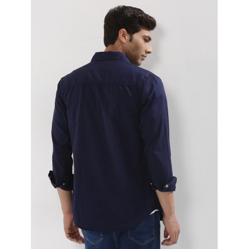 Styx & Stones Blue Shirt With Contrast Button Pocket