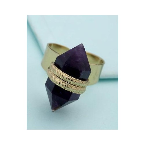 Voylla Purple Stone Studded Adjustable Ring