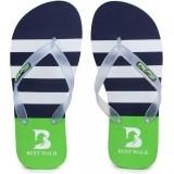 Best Walk NavyBlue & Green Flip Flops For Men
