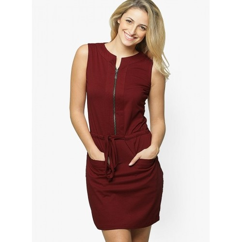Miss Chase Maroon Cotton Shift Dress