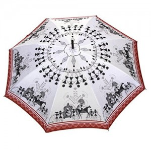 Sun Umbrella Sun Brand Warli Print - Long & Bend Handle Umbrella