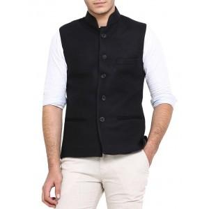 Shaftesbury London black cotton nehru jacket