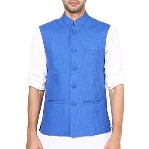 Shaftesbury London blue jute nehru jacket