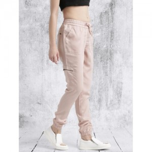 Roadster Women Peach-Coloured Regular Fit Solid Joggers
