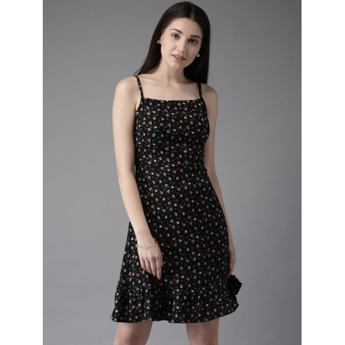Moda Rapido Black  Cotton Printed Drop-Waist Dress