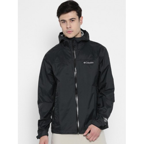 Columbia Black Solid Nylon Rain Jacket