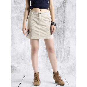 Roadster Women Beige Mini Skirt