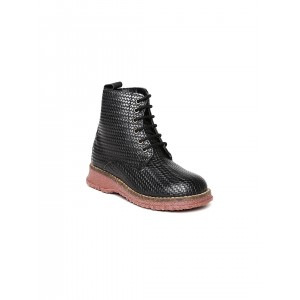 Arden by Knotty Derby Black Artificial Leather Textured Boots