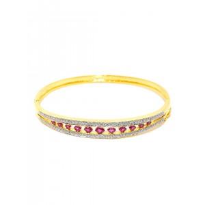 Zaveri Pearls Gold-Toned Ruby & CZ Stone-Studded Cuff Bracelet