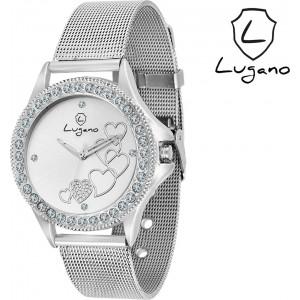 Lugano Silver Metal Analog Watch DE2022LG