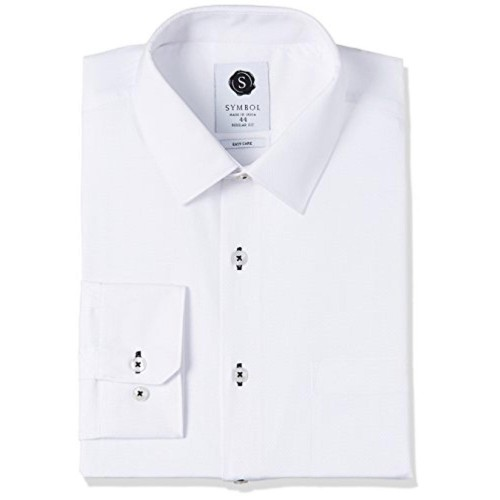 Symbol White Solid Formal Dobby Regular Fit Shirt