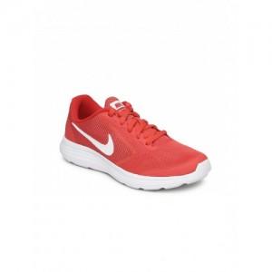 Nike Red & White Mesh Revolution 3 Running Shoes