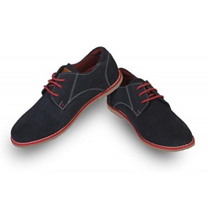 Beanz Beanz Charls Derby Navy/Red Leather Suede Shoes for Boys Size 31 EU