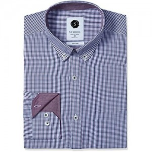 Symbol Blue Cotton Checked Printed Regular Fit Shirt