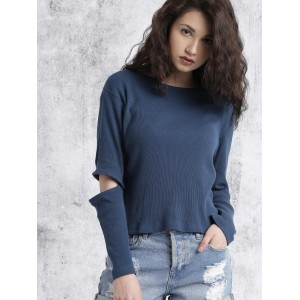 Roadster Women Navy Blue Solid Top