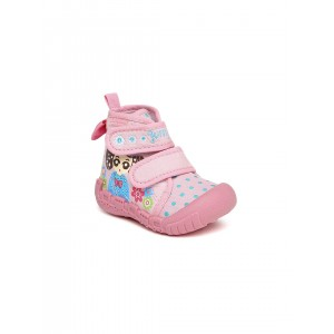 Kittens Baby Pink Canvas Cut-Out Patterned Boots