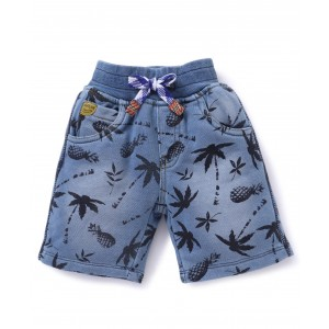 Little Kangaroos Denim Shorts Tree Print - Light Blue
