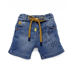 Little Kangaroos Denim Shorts With Drawstrings - Light Blue