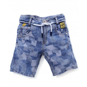 Little Kangaroos Denim Shorts With Drawstring - Blue