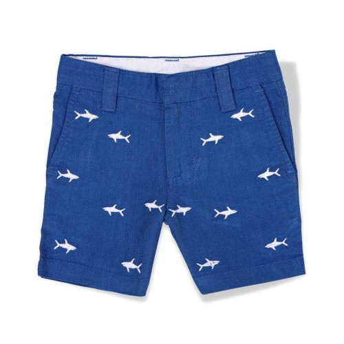 The Lion And The Fish Blue Shark Embroidered Oxford Shorts