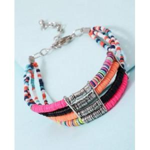 Voylla Neon Beads Studded 4 Layered Bracelet