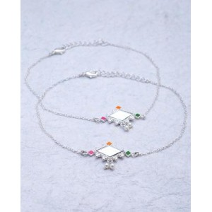 Voylla Silver Plated Diamond Shaped Mirror Studded Anklets