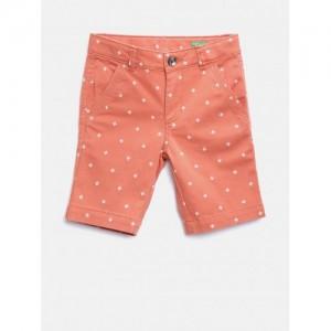 United Colors of Benetton Orange Cotton Elastane Printed Shorts
