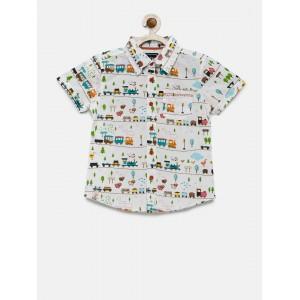Nauti Nati Boys White Printed Casual Shirt