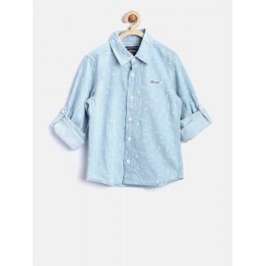 Nauti Nati Boys Blue Printed Denim Shirt
