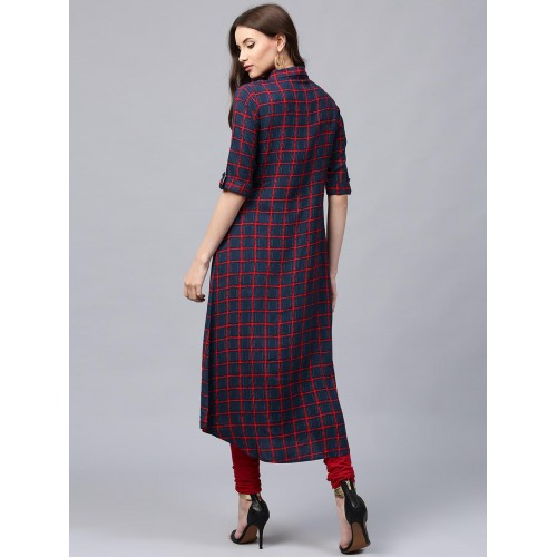 Libas Navy & Red Checked Cotton A-Line Kurta