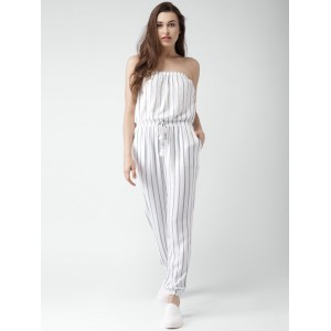 Forever 21 White & Blue Rayon Striped Tube Jumpsuit