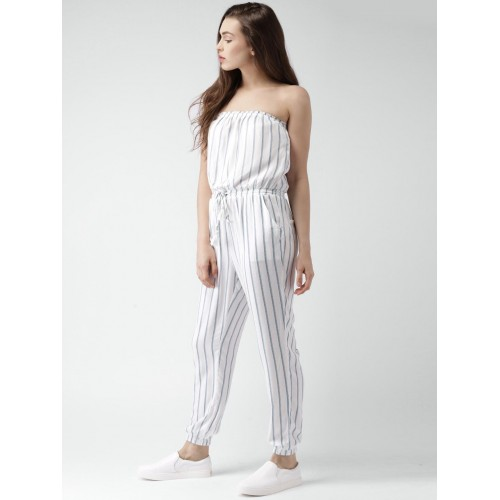 d76a6a4198e9 Buy Forever 21 White   Blue Rayon Striped Tube Jumpsuit online ...
